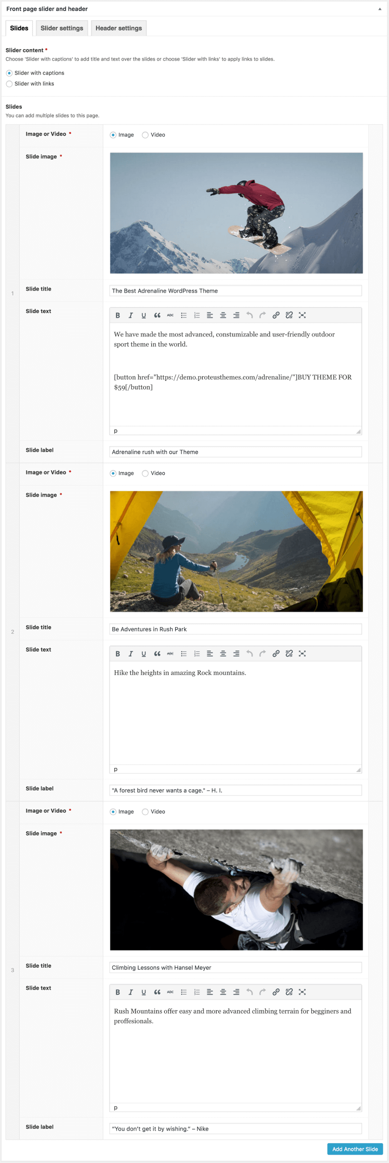 Front Page Slider Admin