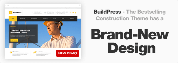 BuildPress - the best selling construction theme has a brand-new design!