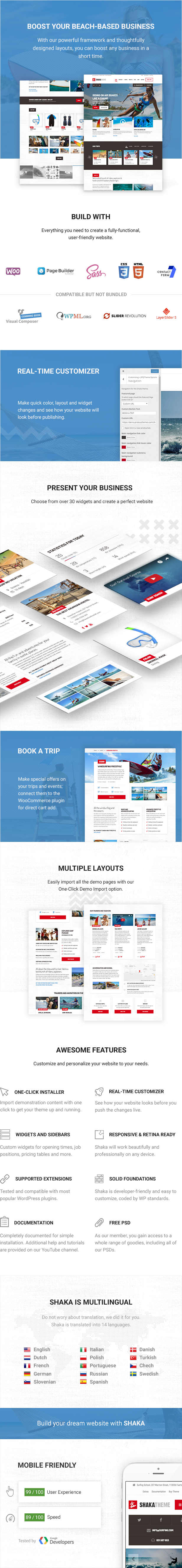 WordPress theme Shaka - A beach business WordPress theme for water sport and activity schools. Surf, kayak and more. (Travel)