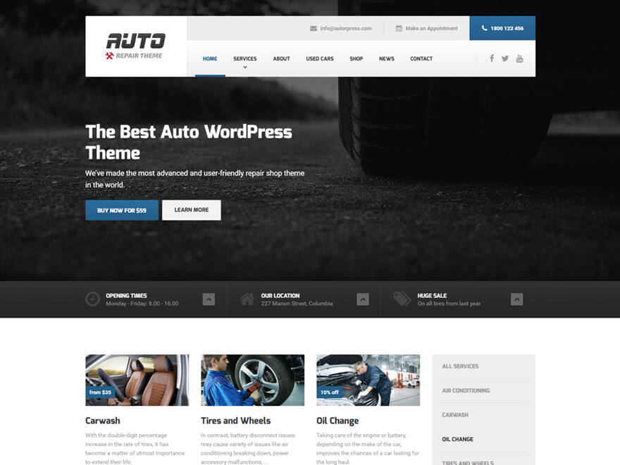 Auto Wordpress Theme For Car Mechanics And Auto Repair Business