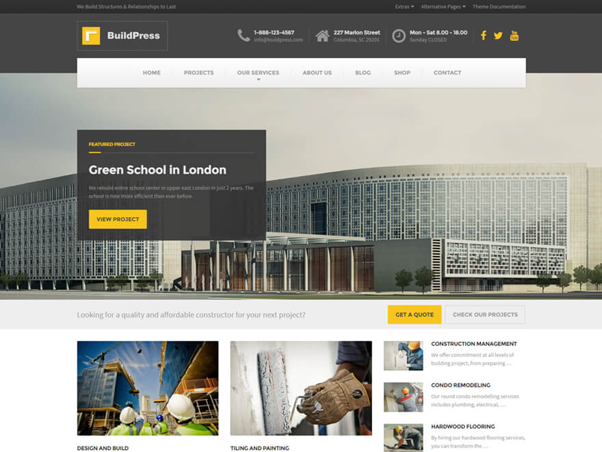 buildpress wordpress theme for construction business