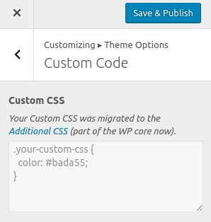 Screenshot from customizer: Custom CSS migrated
