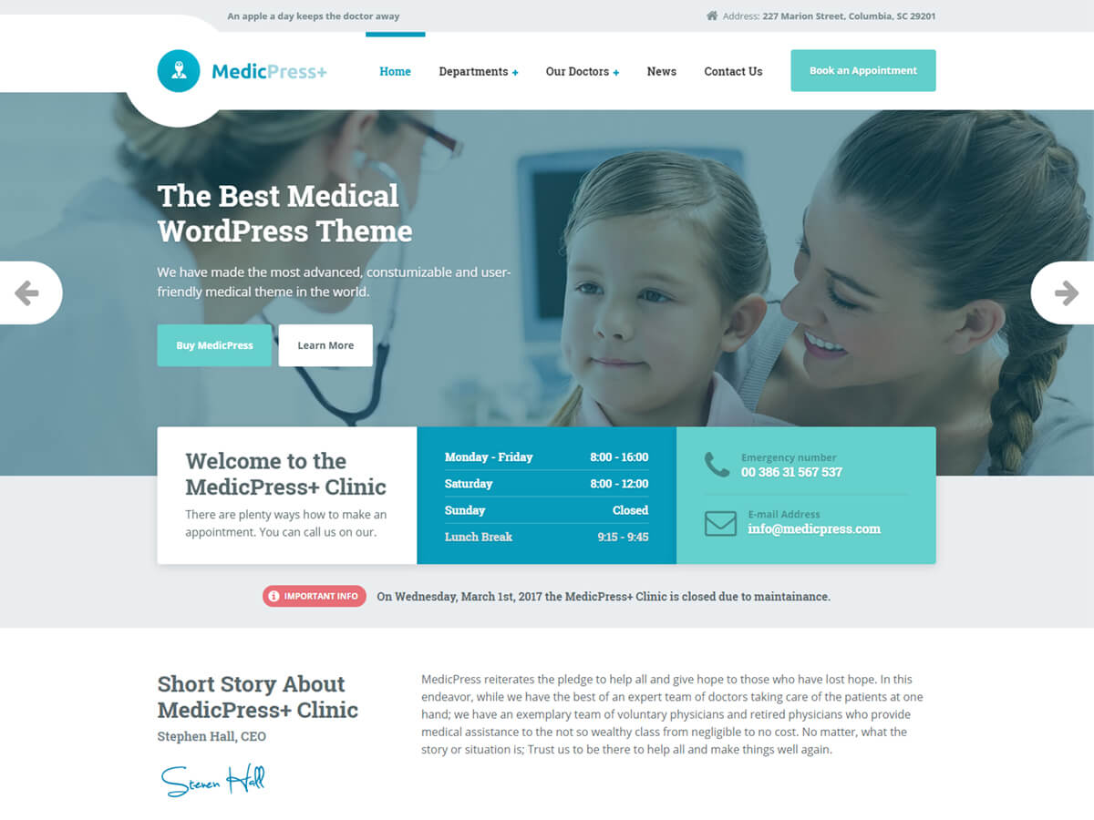 Medical Wordpress Theme For Clinics And Private Doctors Medicpress Wp