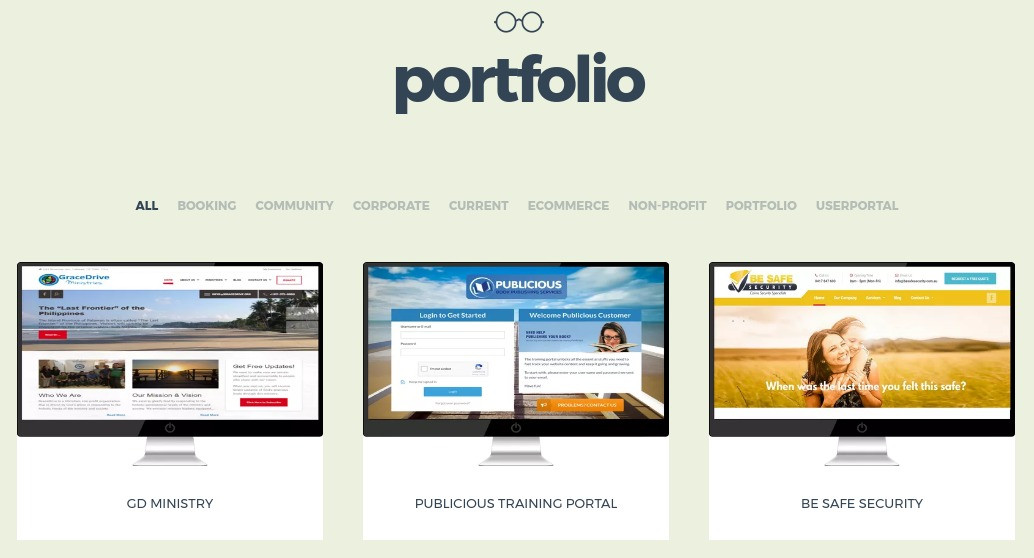 Portfolio of WP sites for local small business