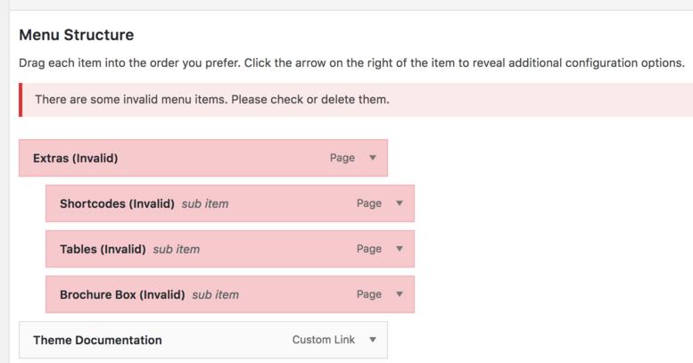 Invalid WordPress menu items in appearance > menus
