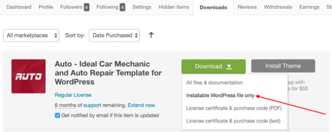 How to install the Auto theme and import its demo data – ProteusThemes
