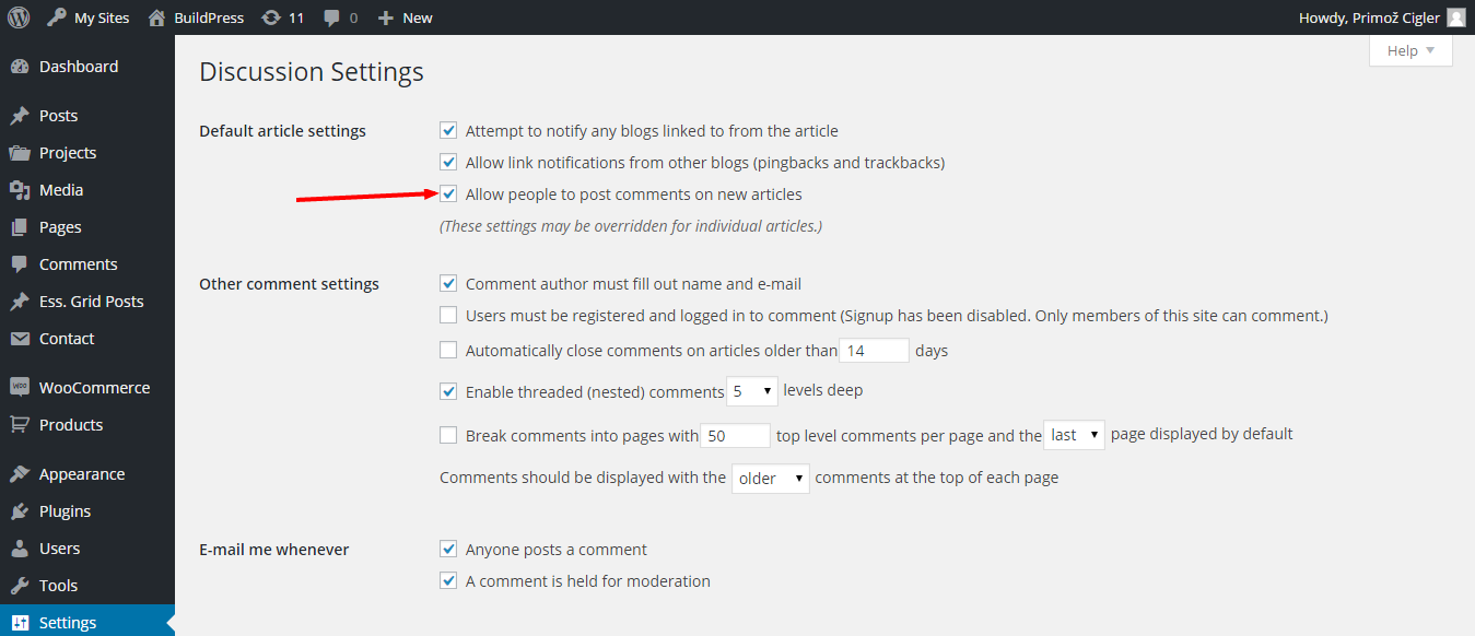 Discussion Settings - BuildPress — WordPress