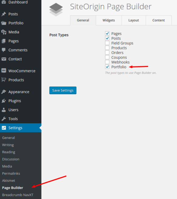 Auto Page Builder Settings