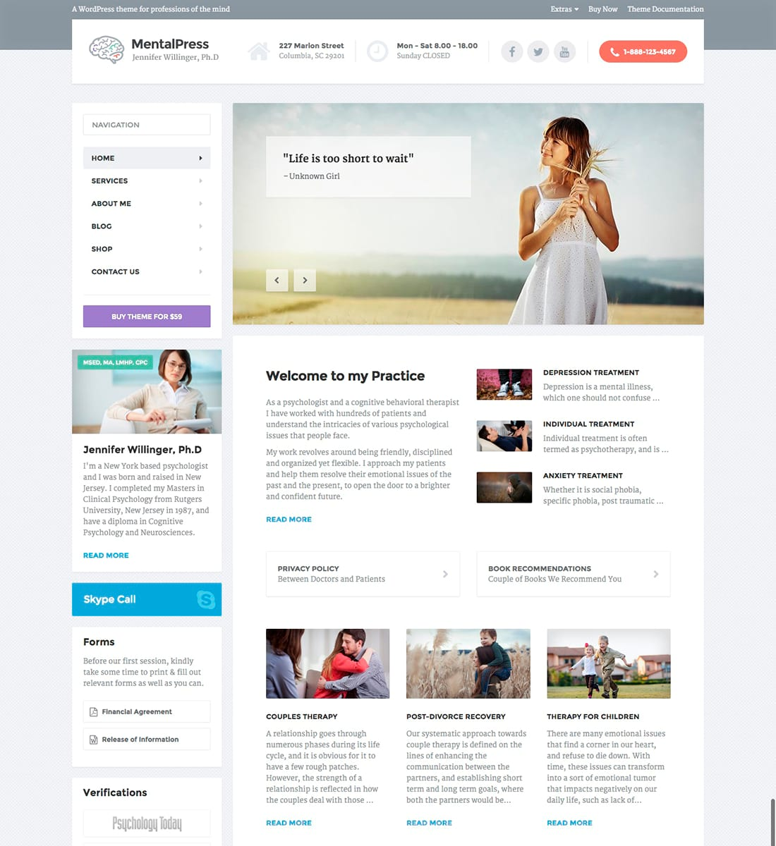 MentalPress - Psychologist and Psychiatrist WordPress Theme