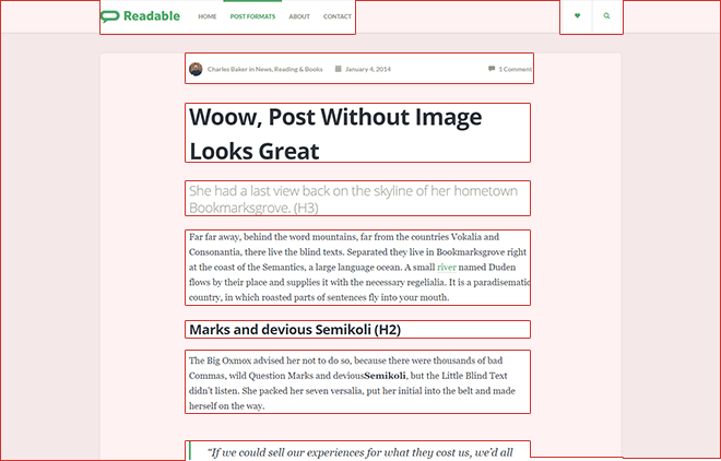 white space in readable wp theme