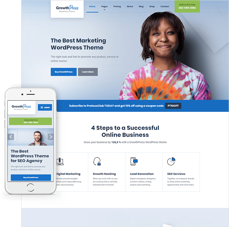 Premium wordpress themes templates for business proteusthemes growthpress wajeb Image collections