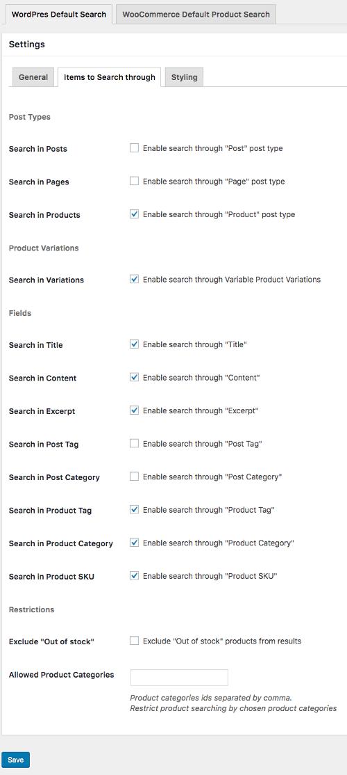 Smart Search settings