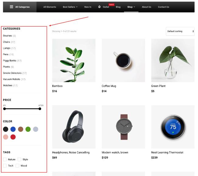 WoonderShop product filters