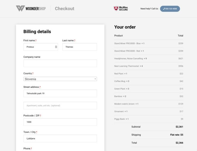 WooCommerce checkout page