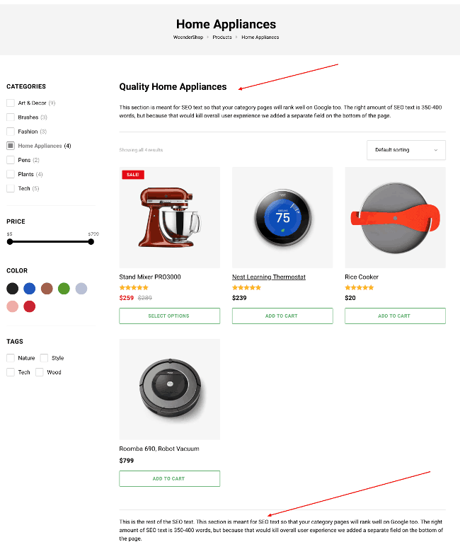 WoonderShop WooCommerce theme category page descriptions