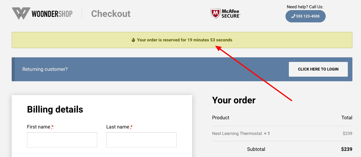 WoonderShop WooCommerce theme time left shortcode example