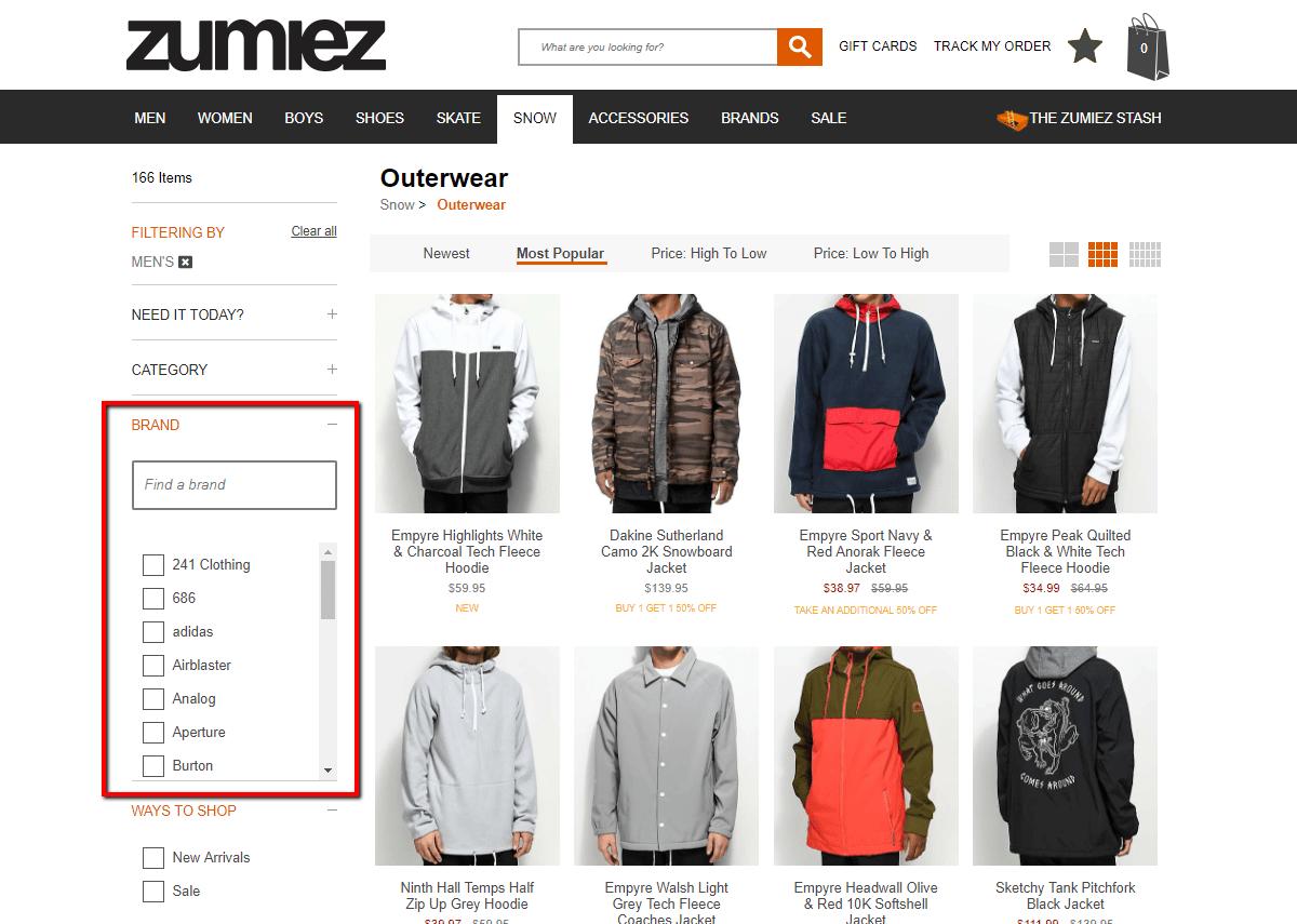 zumiez with shorter filter lists