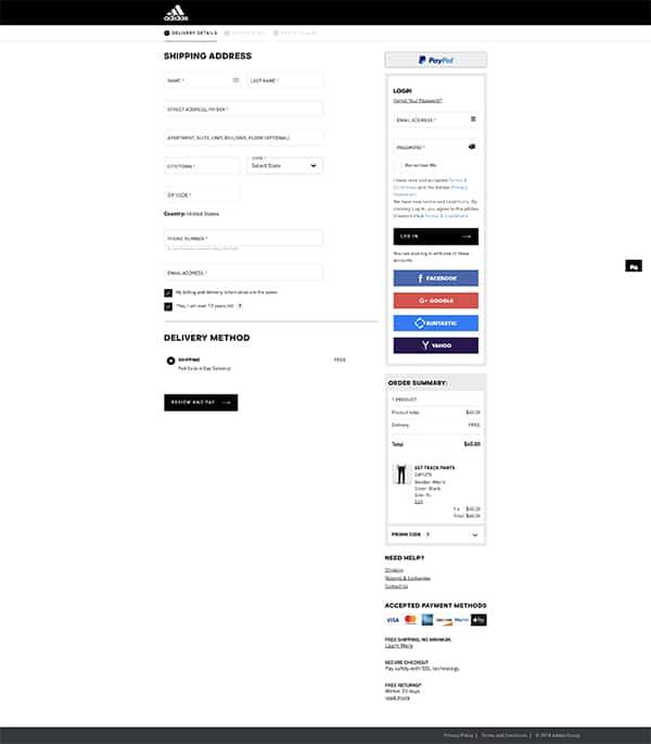 adidas E-commerce Checkout Conversion Rates