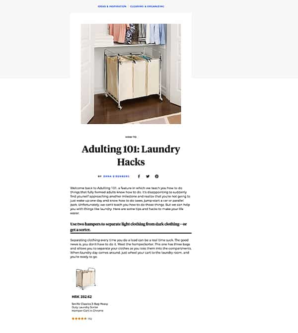 Screenshot of a Bed Bath and Beyond blog post example