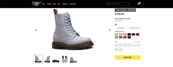 Dr. Martens product photography example