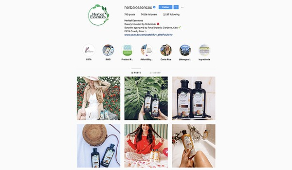 herbal essences product photography example on social media