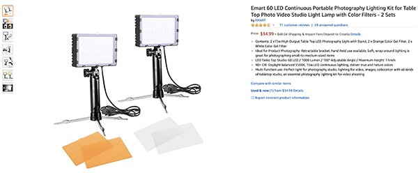 portable lighting kit from Amazon for product photography