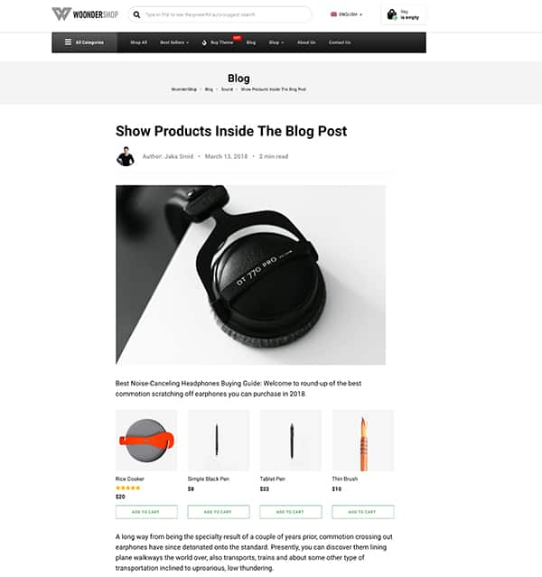 Screenshot of an example of adding products to blog post in Woondershop theme