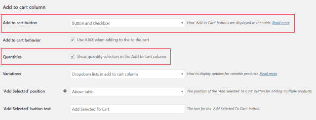Add to cart options in WooCommerce Product Table's settings