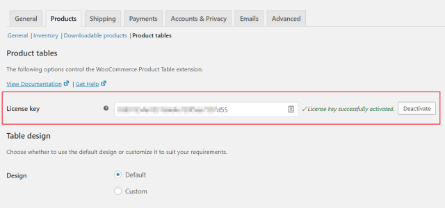 Activate WooCommerce Product Table license key