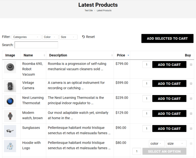 Preview of WooCommerce Product Table on the WoonderShop theme