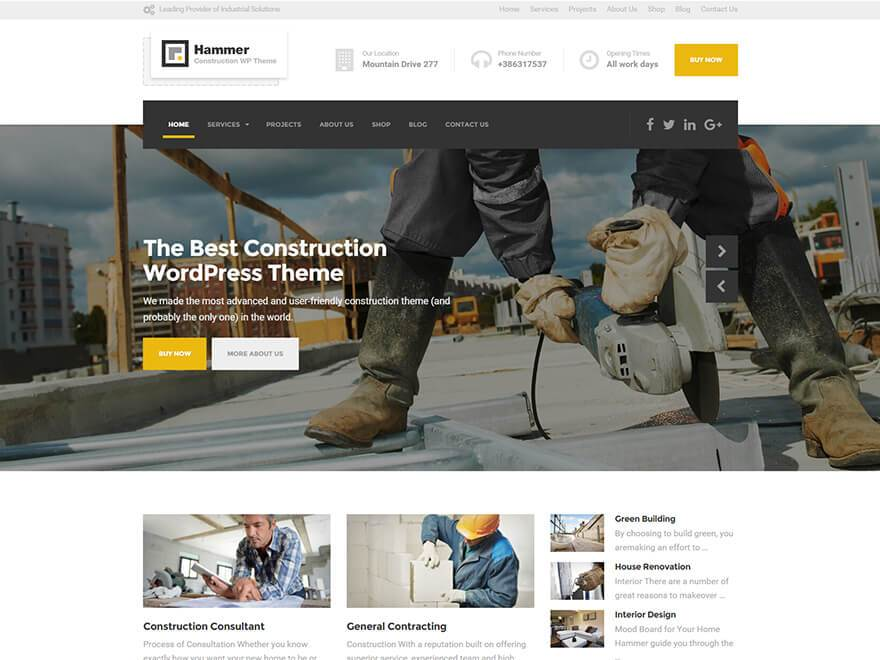 hammer wordpress theme for construction and building business