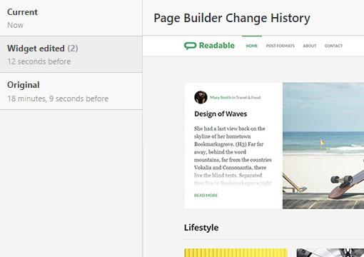 PageBuilder history