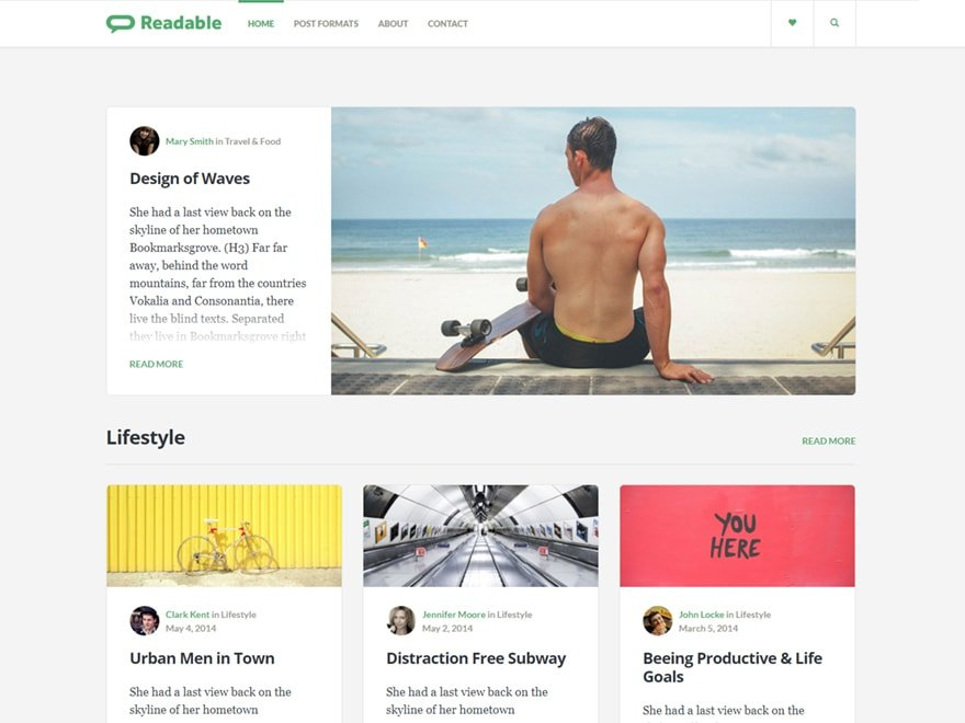 Readable - Blog WordPress Theme for Writers Inspired by Medium.com