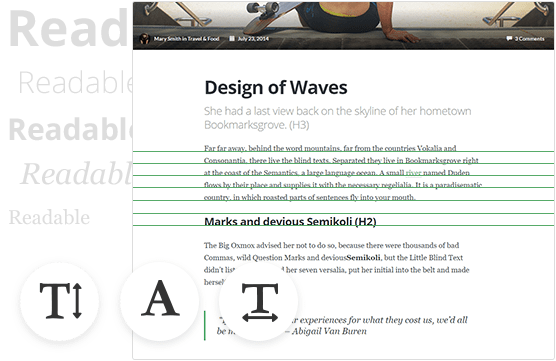 Fonts, layout and structure of the text