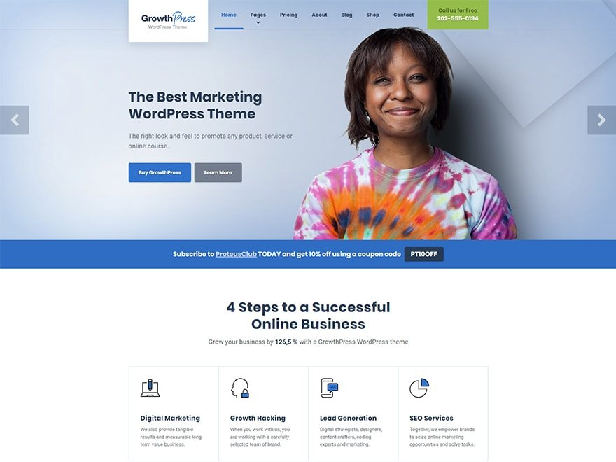 marketing wordpress theme growthpress
