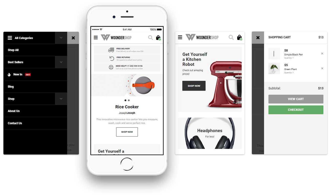 mobile screens of woondershop theme
